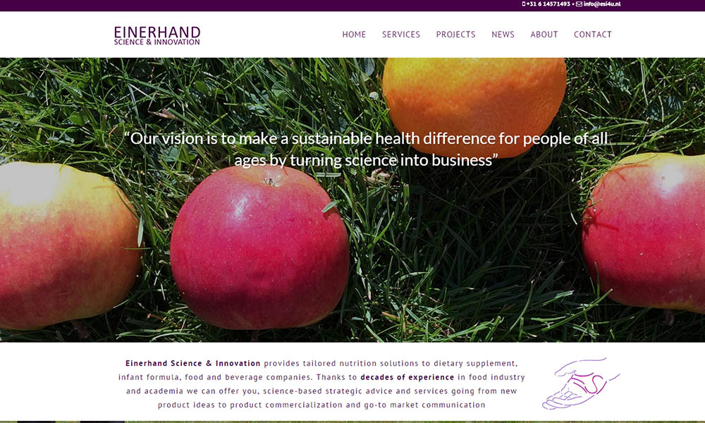 Website Einerhand Science & Innovation